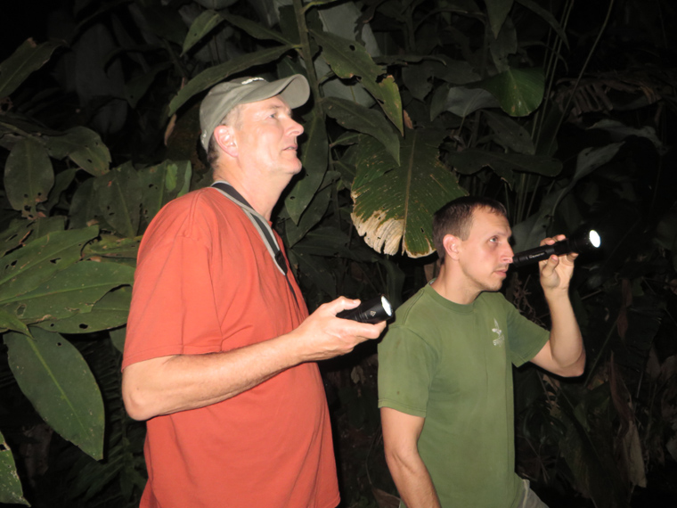 Brian Kubicki and John Vanderpoel searching for frogs at the Costa Rican Amphibian Research Center.
