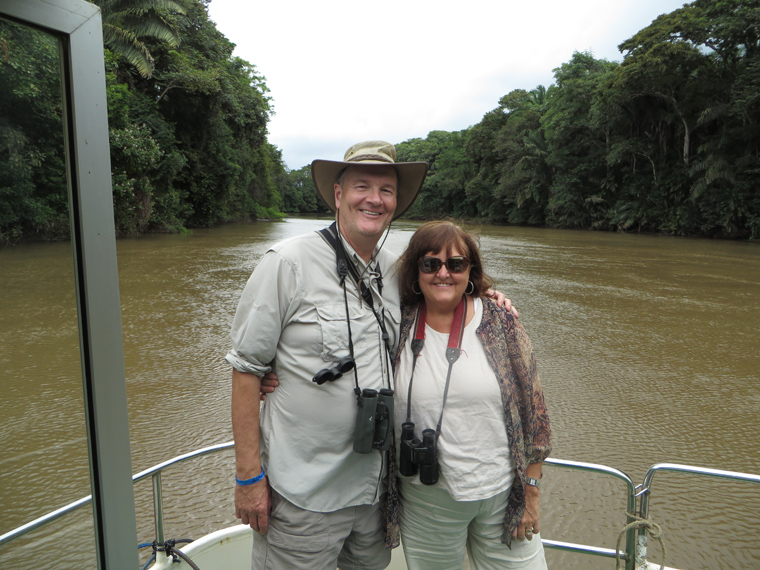 Linda & John on the Rio Frio in the Cano Negro Wildlife Refuge